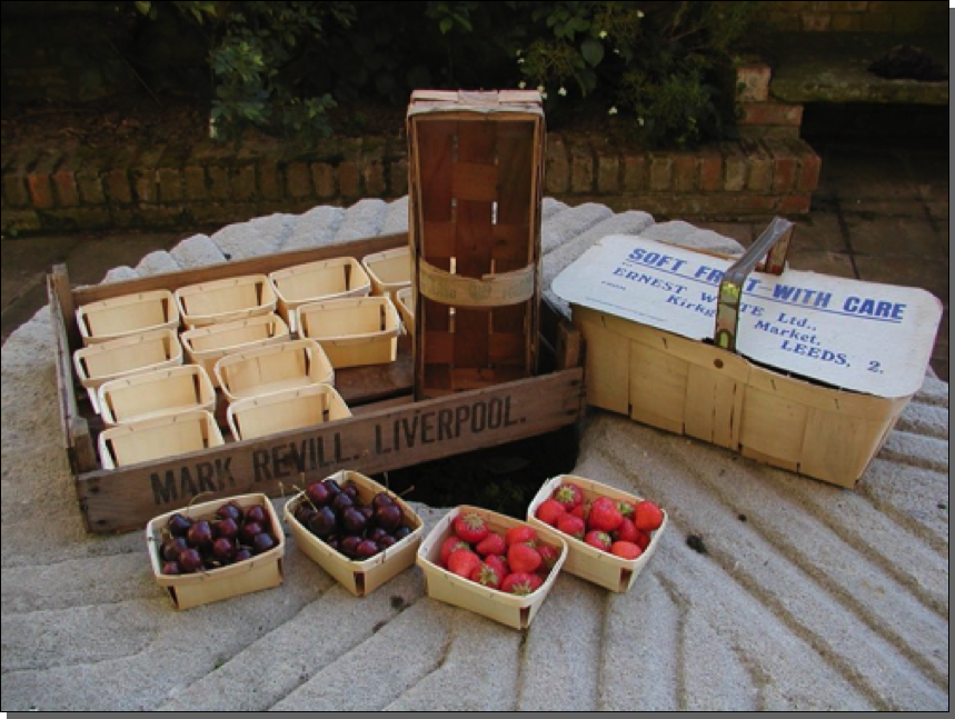 Old soft fruit tray & various punnets